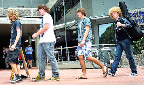 Struttin' out: Band members Sean Rudner, Hayden Marshell, Cameron Ross and Victor Jones are in the Global Battle of the Bands State finals.