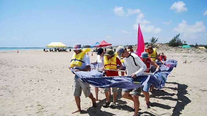 Bowen Hospital staff taking part in last year's Dry Boat Race.