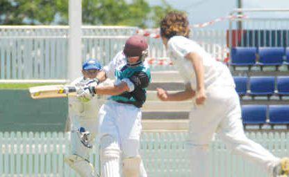 A clash of the teenagers as Farleigh batsman Joel Bruun pulls Souths' Josh Del Simone to leg.