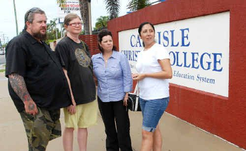 Parents of Carlisle Christian College students, from left, Luke and Leesa Dahms, Janita Blinco and Verena Holmes, are angry about the decision to close the high school next year.