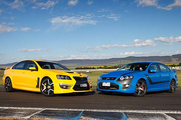 Holden's HSV GTS goes head to head with Ford's FPV GT.