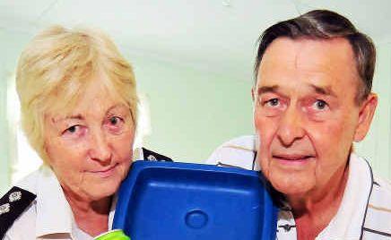 St John Ambulance superintendent Margaret Lutz and volunteer Garry Heiniger are appealing for help to buy a fridge for the Welcome Creek Cadet Division hall.