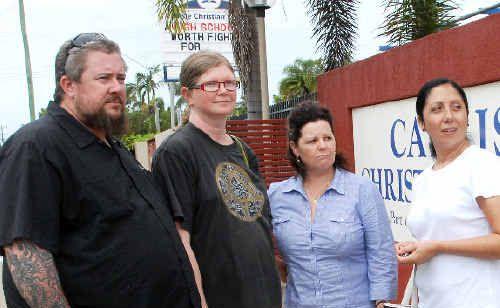Concerned parents at Carlisle Christian College, from left, Luke and Leesa Dahms, Janita Blinco and Verena Holmes.