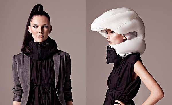 The Hovding airbag collar has been designed to provide the safety aspects of a helmet without destroying your hair style.
