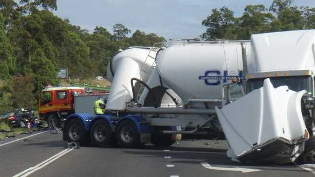 A b-double truck and a car collided south of Gympie.
