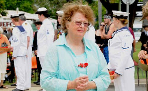 Joyce Foster from Newcastle at the Gympie Remembrance Day service.
