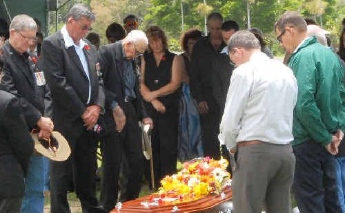 Mourners at the funeral of Doug Mollenhagen yesterday included, from left, Ken Mollenhagen, Stan Mollenhagen, John Wood and (at right) Trevor Costigan, Viv Dodt and Frank Frazer (obscured).