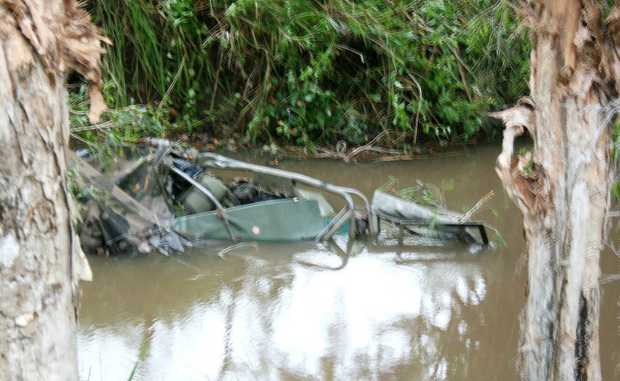 A soldier died after the four-wheel drive he was travelling in ran off the road and into the creek at Six Mile Creek on Monday afternoon.