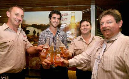 Carlton United Breweries' Eddie Morris, Brampton Island food and beverage manager Brendan Sarroff, Great Northern Brewing's draught beer specialist Garrath Norgate, and Harrup Park finance manager Chris Bekkeli enjoy a Great Northern Beer, Queensland's newest beer, at the product's Mackay launch.