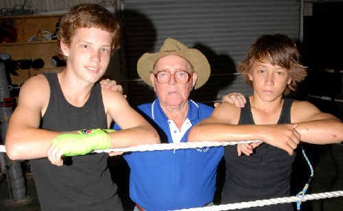 Brodie O'Malley, 16, and Liam Paro, 14, take a break from training with coach Wally Simon.