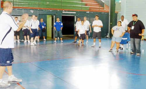 Coffs Harbour Basketball's Matt Shanahan instructs coaches in New Caledonia.