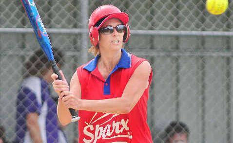 Sandy Sheffield is aiming to put bat to ball for Sparx in the clash with Aztecs Apaches in Maryborough.