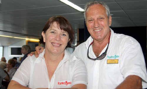 Member for Whitsunday Jan Jarratt with senior cruise attendant Michael Moran, after Ms Jarratt's stint on board Fantasea Adventure Cruising as a cruise attendant.