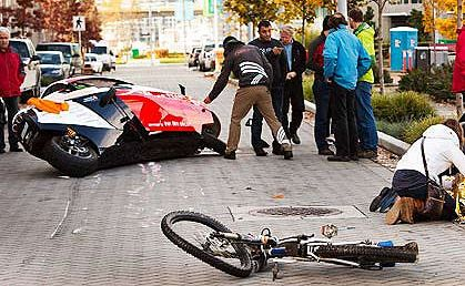 A Zerotracer motorcycle has collided with a cyclist in Canada.