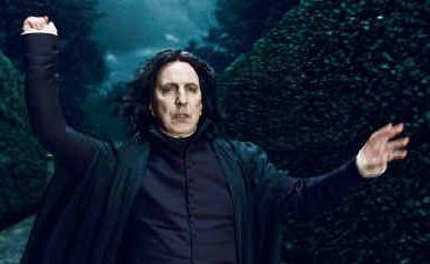Alan Rickman in his familiar role as the menacing Professor Snape.
