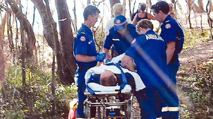 Emergency services personnel treat a patient at Macauley's Headland.