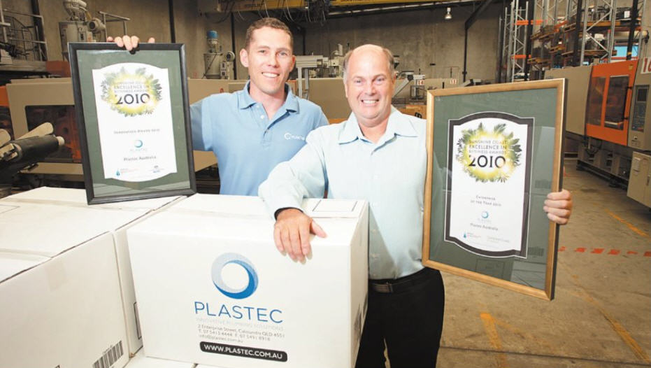 Big winners at last year's Sunshine Coast Excellence in Business Awards, Will Casey and Sid Hawthorne from Caloundra company Plastec.