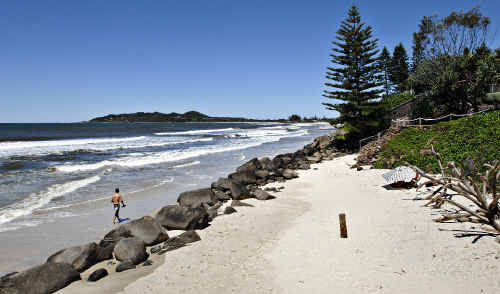 Belongil Beach, Byron Bay, which is at the centre of a heated debate about a $1.2 million rock wall.