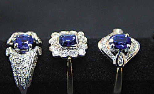Sapphire and diamond cluster rings.