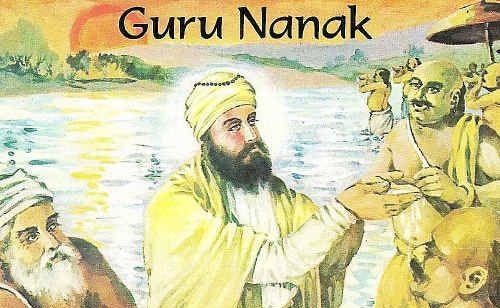 Guru Nanak preaching to the Hindu Brahmins, illustrating the futility of meaningless rituals.