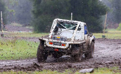 Shane Marsden gets his Nissan Patrol moving through the mud in the Dirt Sprintz at Project FMX on Saturday.