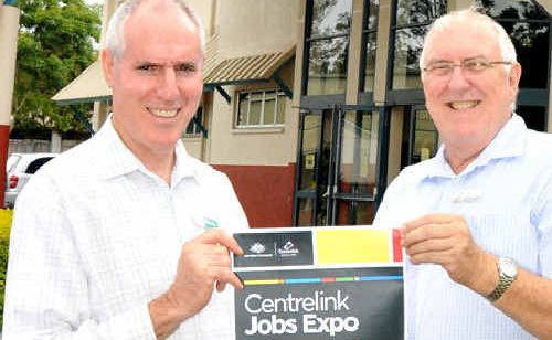 Centrelink jobs and skills expo co-ordinator Graham Aitken and local employment co-ordinator Garry Davison are gearing up for the skills expo.