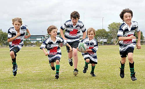 All set for to hit the field for the new Brothers Sunshine Coast Rugby Club, which has replaced the Kawana Rugby Club, are (L-R) Seth and Jake Lonergan, Harry Charlesworth and Angus and Max Williams.