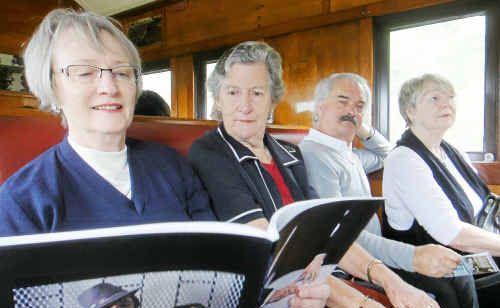 Jeannette Egerton (Brisbane), Dorothea Cahill (Warwick), Tom Benkendorff (Warwick) and Pat Benkendorff (Warwick) on the train trip to Stanthorpe.