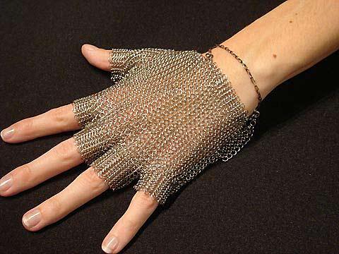 Toby Jones' chainmail glove.