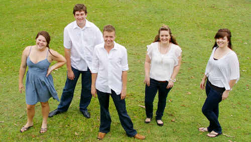 Vocal group Quadrum prepares to entertain in festive style at Carols in the Park at Maryborough on Sunday night.