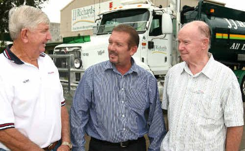 Clive Rogers, JJ Richards & Sons Pty Ltd Central Queensland manager Ken Mackellar and regional director of North Queensland Anglicare John Langford.