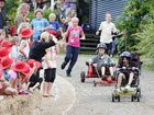 Ananda Marga River School's Year 5 students have a ball in their billycart race while learning about science.