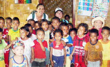 Maryborough teacher Julia Edwards visits a kindy at Atauro Island in East Timor.