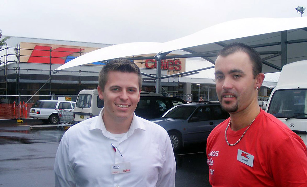 REVAMP: Manager of Ballina Coles Mitch Phelps (left) and manager of Kmart David Pitty with the new carpark shade sails at the 27-year-old centre.