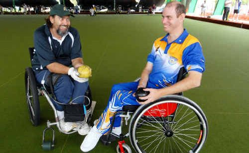 Cairns bowler Stephen Lockey, left, and Mackay's Lincoln Best prepare for action at the 2011 Queensland Multi Disability Lawn Bowls Championships.
