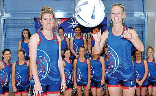 The Caloundra Netball Excellence Squad, with Lindsay Healey and Tarra Tipper out in front.