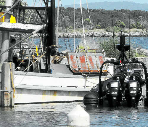 The trawler Kay Bee moored at Iluka Boat Harbour after the nine-hour open ocean pursuit by water police.