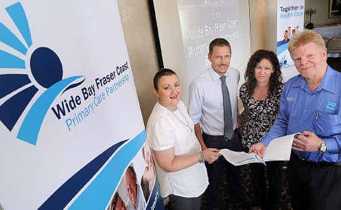 Celebrating the launch of the Wide Bay Fraser Coast Partnership Council are Kylie Slack from Queensland Health and John Gamlin, Cyleece Feher and Shane Dawson from GP Links.