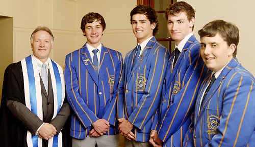 Toowoomba Grammar School headmaster Peter Hauser with year 12 award winners (from left) Patrick O'Connor, Ryan Leeson, Luke Bristow and Nicholas Joseph.
