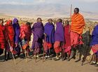 The Masai, traditional tribesmen in Kenya and Tanzania, jump to show off their strength and status.