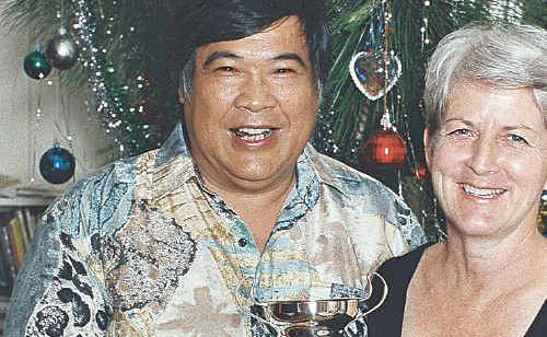 Wayne Choy Show with his partner Marg Watson. Mr Choy Show died in a crash on the Bruce Highway.
