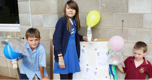 FLYING CONTRAPTIONS: Kids got to design contraptions to protect their flying eggs. cont
