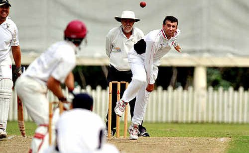 Maroochydore's Shane Rynne, bowling, needs 47 runs to become the first player to score 6000 for the club.