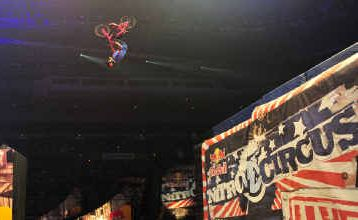 Jolene Van Vugt performs a back-flip over the gap as part of the live action-packed Nitro Circus show.