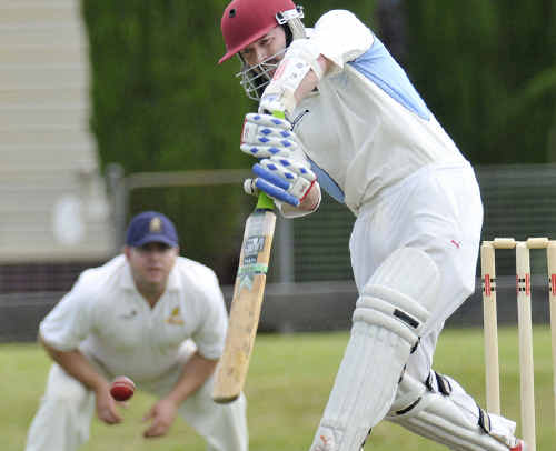 Wests opener Ben Luther gets his team's successful run chase against Metropolitan-Easts off the mark at Harristown Park on Saturday.