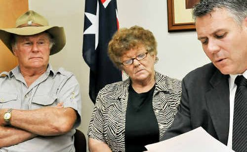 Former Patel patients George Pauza and Doris Hillier meet with Member for Burnett Rob Messenger to support a Royal Commission into government corruption.