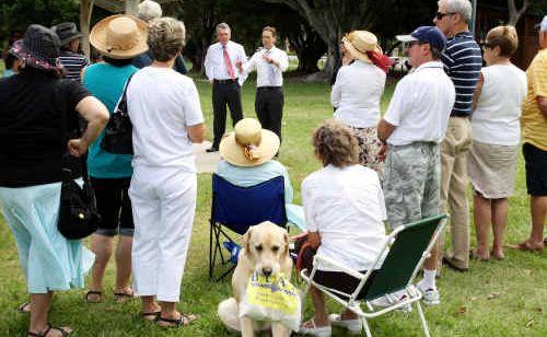 Shadow Minister for the Environment Greg Hunt addresses the faithful at Fraser Park, Golden Beach yesterday.