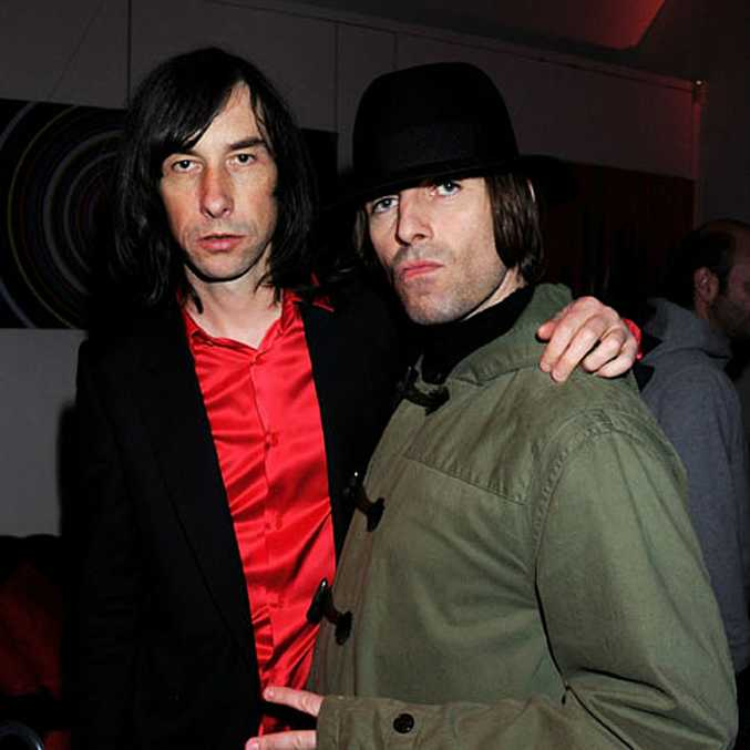 Liam Gallagher (right) with Bobby Gillespie of Oasis.