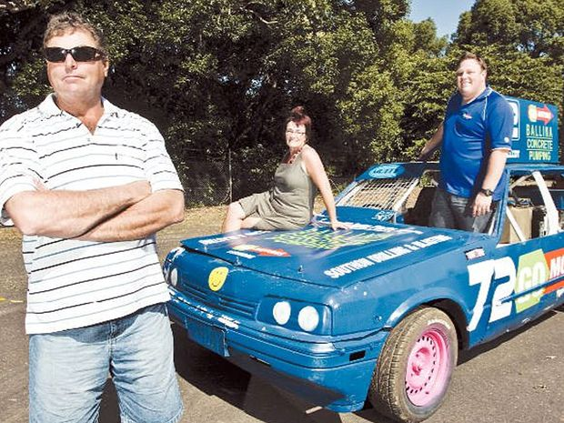 Nick and Narelle Besseling (left) of Ballina Concrete Pumping, and Josh Oliver, of Go Motors, in the Mutty Racing Team speedway car, are aiming to raise money for the McGrafth Foundation.