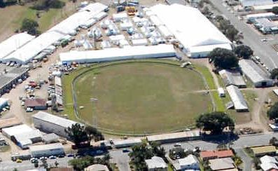An aerial view of Mackay showgrounds, looking north from Shakespeare Street towards the Pioneer River.